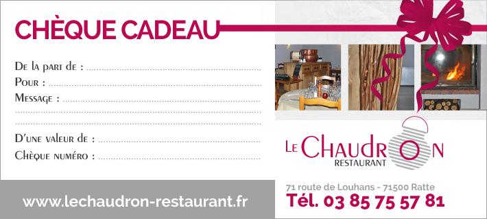 Carte Cadeau Restaurant.Cheque Cadeau Restaurant Le Chaudron Louhans 71 Une